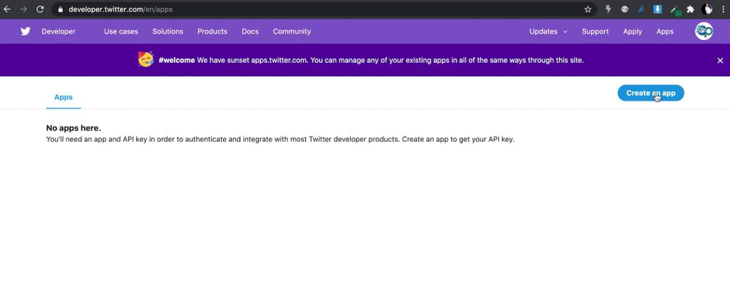 Create Twitter App Credentials